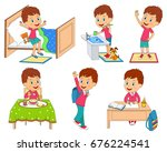 kids daily routine ... | Shutterstock .eps vector #676224541