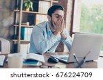 frustrated young brunet banker... | Shutterstock . vector #676224709
