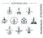 set of isolated lighthouse... | Shutterstock .eps vector #676225531