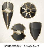 empty medieval shield. set of... | Shutterstock .eps vector #676225675