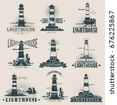 isolated lighthouse sketches... | Shutterstock .eps vector #676225867
