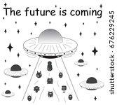 vector illustration. spaceship... | Shutterstock .eps vector #676229245