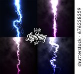 lightning flash light thunder... | Shutterstock .eps vector #676238359