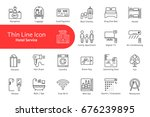 thin line icons set for hotel... | Shutterstock .eps vector #676239895