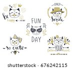 vector card series with cute... | Shutterstock .eps vector #676242115