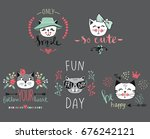 vector card series with cute... | Shutterstock .eps vector #676242121