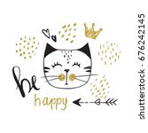 vector card with cute fashion...   Shutterstock .eps vector #676242145