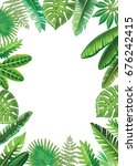 frame from vector tropical... | Shutterstock . vector #676242415