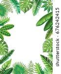 frame from vector tropical... | Shutterstock . vector #676242415