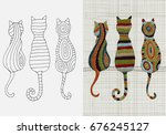 set of embroidery patterns. ... | Shutterstock .eps vector #676245127