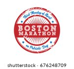 boston marathon sporting event... | Shutterstock .eps vector #676248709