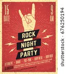 Stock vector rock night party poster flyer vintage styled vector illustration 676250194