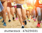 the runners compete for wins... | Shutterstock . vector #676254331