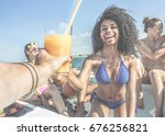 group of happy friends drinking ... | Shutterstock . vector #676256821
