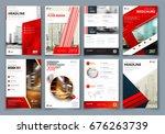 brochure design. red corporate... | Shutterstock .eps vector #676263739