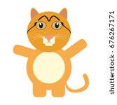 isolated cute cat on a white... | Shutterstock .eps vector #676267171