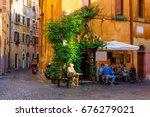 cozy old street in trastevere...   Shutterstock . vector #676279021