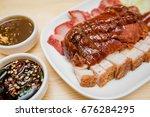 roast duck and roast pork  thai ... | Shutterstock . vector #676284295