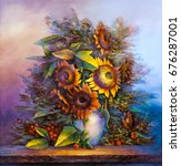 oil painting a bouquet of... | Shutterstock . vector #676287001