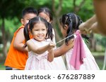 asian children having fun to... | Shutterstock . vector #676287889