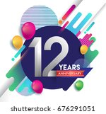 12 years anniversary logo with... | Shutterstock .eps vector #676291051
