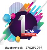 1 years anniversary logo with... | Shutterstock .eps vector #676291099