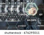 businessman touching industry 4.... | Shutterstock . vector #676295011