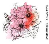 flower tropical hibiscus. hand... | Shutterstock .eps vector #676295941