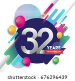 32nd years anniversary logo...   Shutterstock .eps vector #676296439