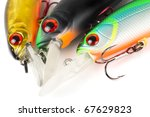 Plastic fishing lures macro shot - stock photo