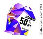 summer sale geometric style web ... | Shutterstock .eps vector #676312981