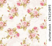 seamless floral pattern with... | Shutterstock .eps vector #676314895