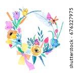 watercolor flowers | Shutterstock . vector #676327975