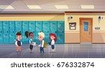 group of schoolchildren in...   Shutterstock .eps vector #676332874