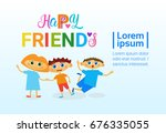 happy friendship day greeting... | Shutterstock .eps vector #676335055