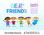 happy friendship day greeting... | Shutterstock .eps vector #676335211