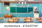 empty school class room... | Shutterstock .eps vector #676335769