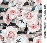roses seamless pattern.... | Shutterstock . vector #676337185