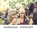 group of friends drinking beers ... | Shutterstock . vector #676341691