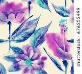 summer flowers seamless pattern.... | Shutterstock . vector #676353499