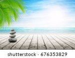 stack of pebble stones at the... | Shutterstock . vector #676353829