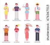 healthy habits people character ... | Shutterstock .eps vector #676367515