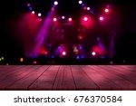 top desk with light bokeh in... | Shutterstock . vector #676370584