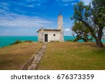 old chapel on the magdalena...   Shutterstock . vector #676373359