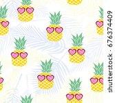 pineapple pattern   vector ... | Shutterstock .eps vector #676374409