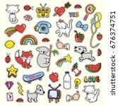 stickers collections in pop art ... | Shutterstock .eps vector #676374751