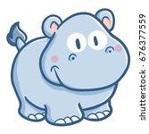 cute and fanny hippopotamus... | Shutterstock .eps vector #676377559