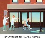 joyful grandfather fled the... | Shutterstock .eps vector #676378981