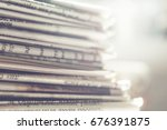 newspapers close up background  | Shutterstock . vector #676391875