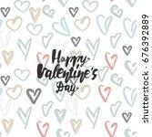 happy valentines day. hand...   Shutterstock .eps vector #676392889
